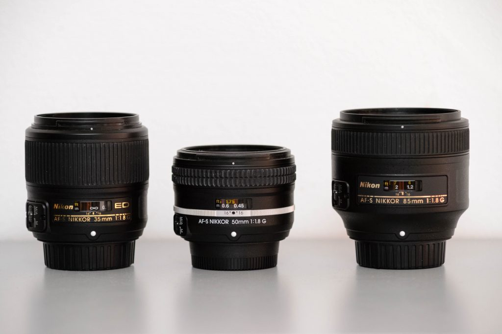 Nikon 35mm, 50mm, 85mm