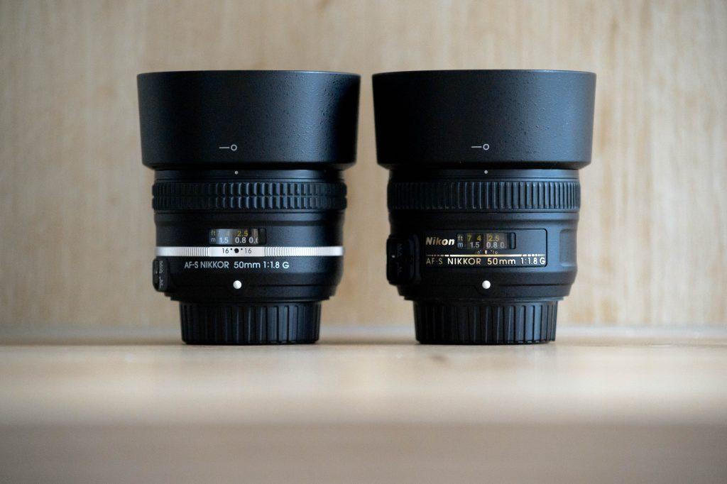 Gehäuse der 50mm f/1.8 G im Vergleich
