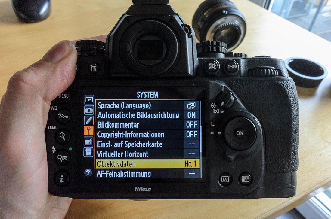 Nikon Df Objektivdaten hinzufügen
