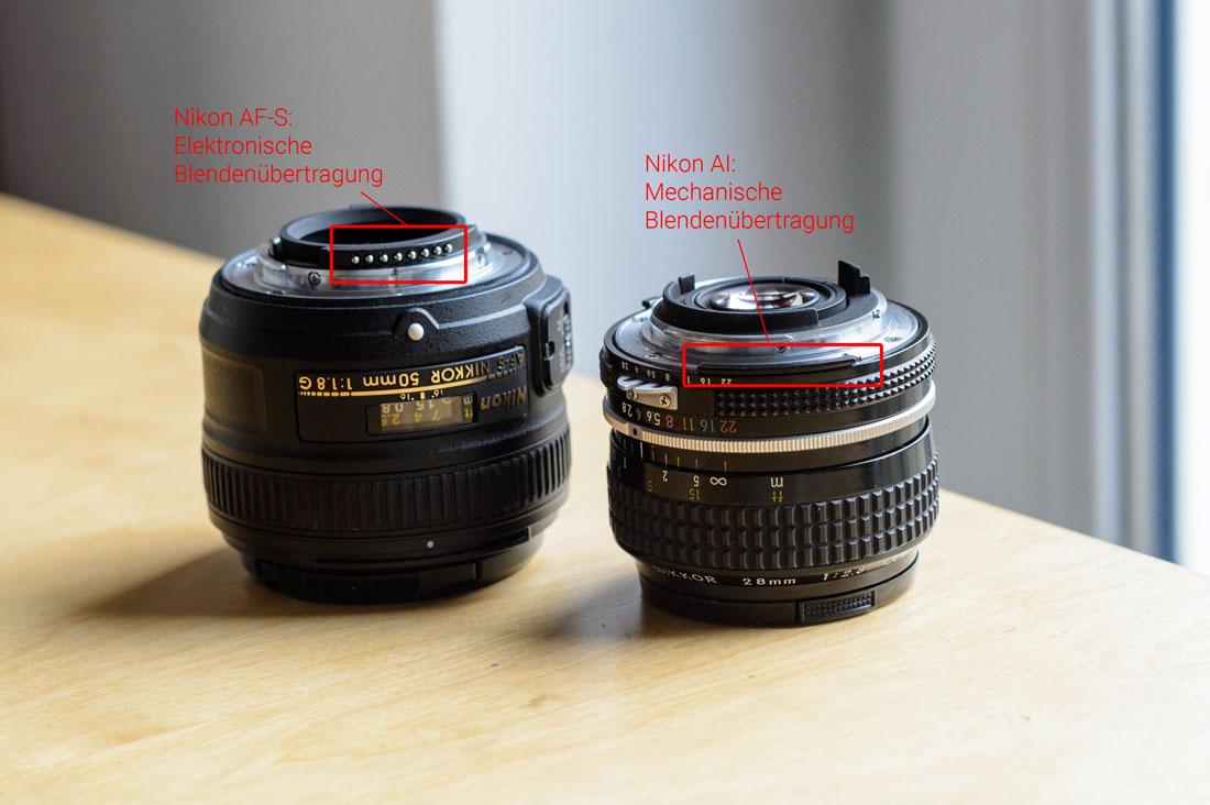 Nikon AF-S Nikkor 50mm f/1.8 G und Nikon AI Nikkor 28mm f/2.8