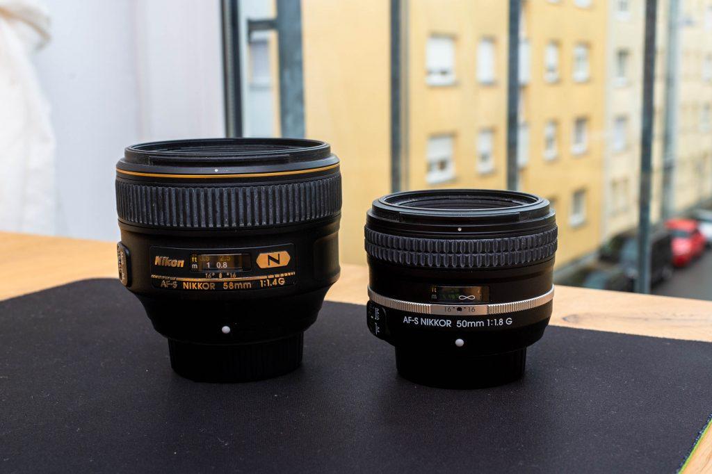 Nikon AF-S Nikkor 58mm f/1.4 G und Nikon AF-S Nikkor 50mm f/1.8 G SE